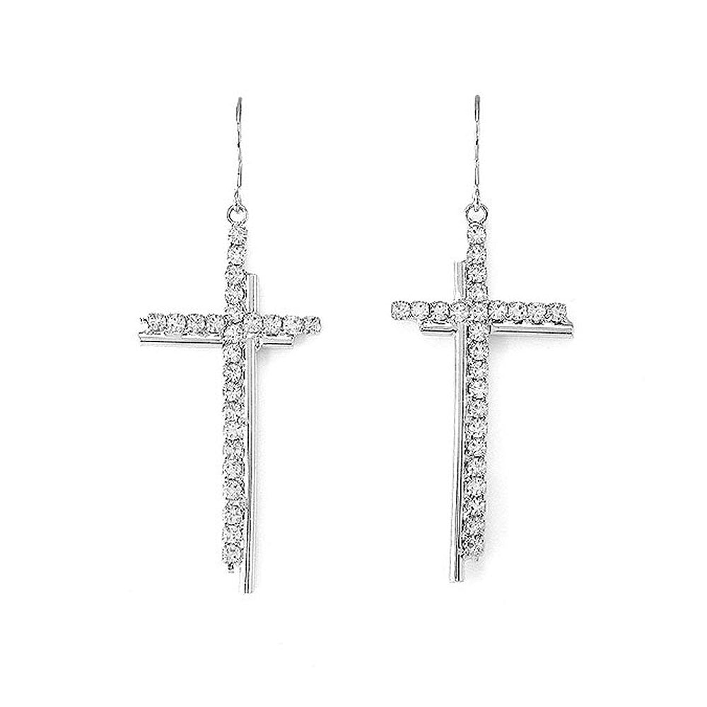 Dazzling Cross Earrings with Silver Austrian Element Crystal