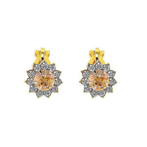 Enchanting Non Piercing Earrings with Silver Austrian Element Crystal and Orange CZ