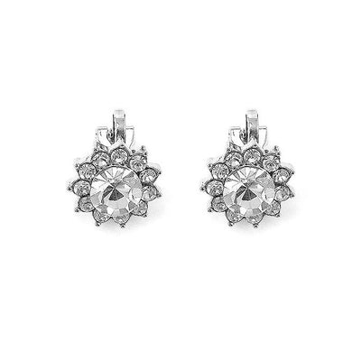 Enchanting Non Piercing Earrings with Silver Austrian Element Crystal and CZ