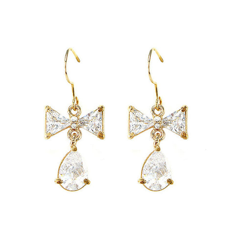 Dazzling Ribbon Earrings with Silver Austrian Element Crystal