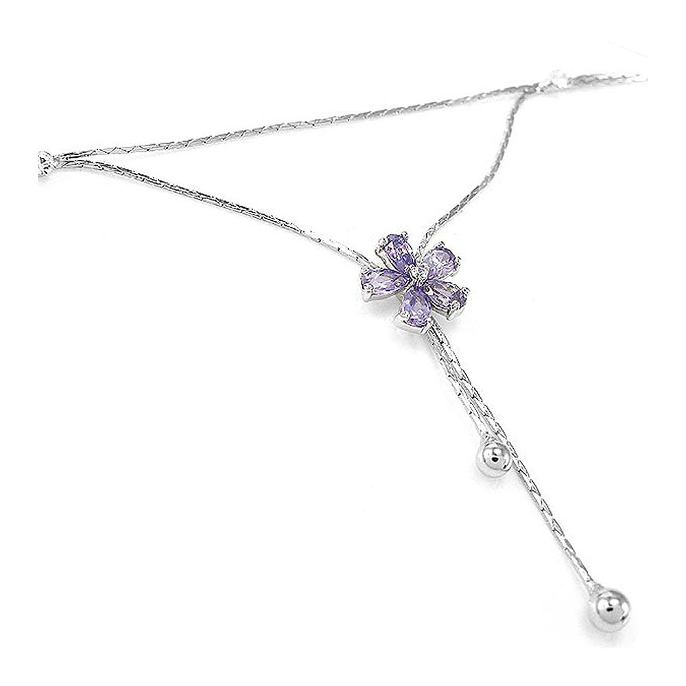 Elegant Flower Anklet with Purple and Silver Austrian Element Crystals