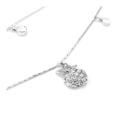 Elegant Apple Anklet with Silver Austrian Element Crystals