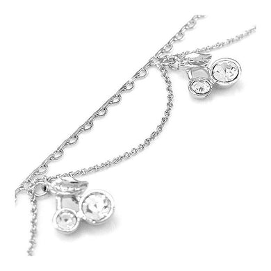 Elegant Cherry Anklet with Silver Austrian Element Crystals