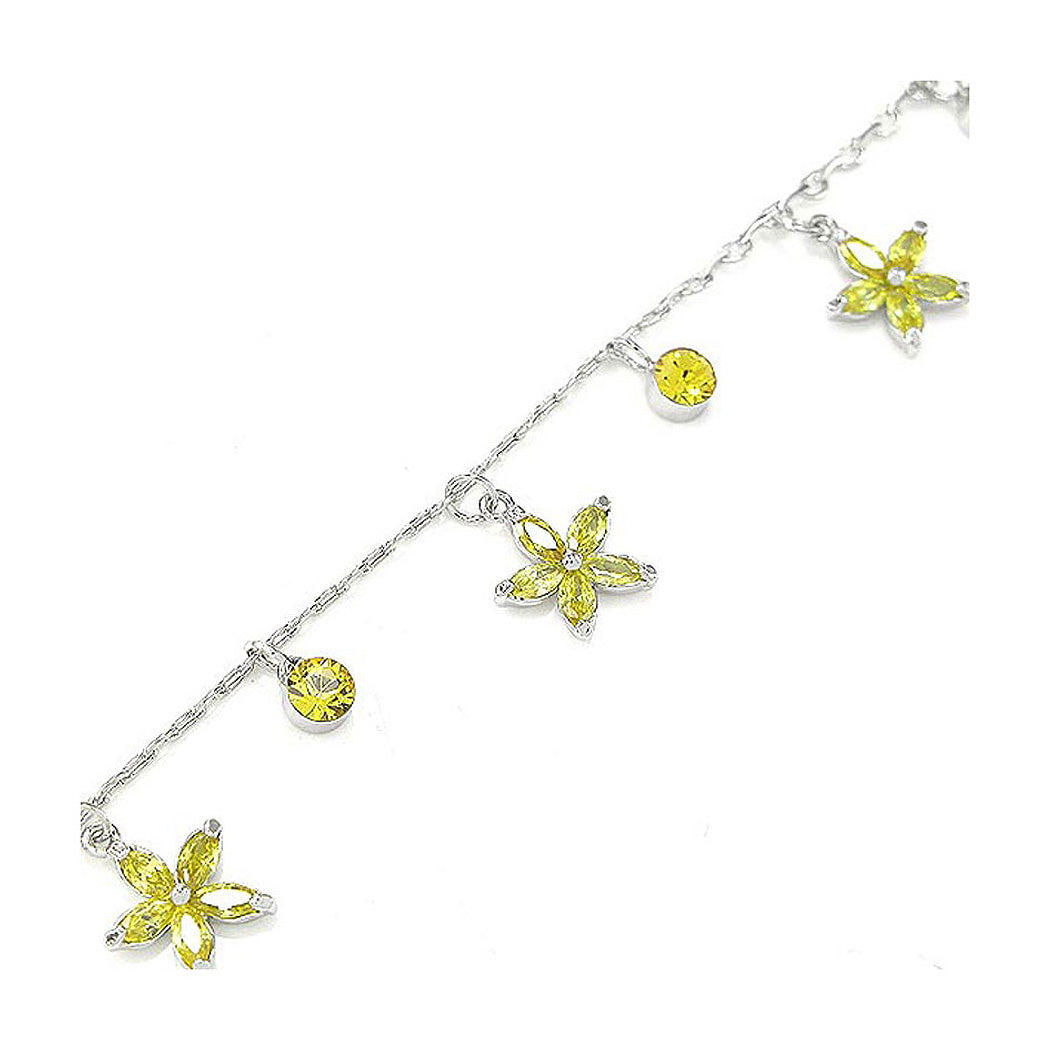 Elegant Flower Anklet with Yellow Austrian Element Crystals
