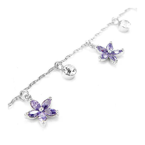 Elegant Flower Anklet with Silver and Purple Austrian Element Crystals