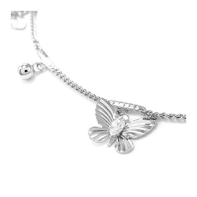 Elegant Butterfly Anklet with Silver Austrian Element Crystals