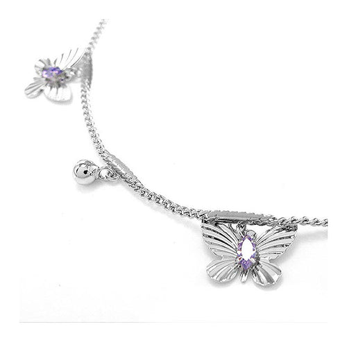Elegant Butterfly Anklet with Purple Austrian Element Crystals
