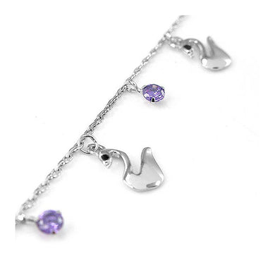 Elegant Swan Anklet with Purple and Black Austrian Element Crystals