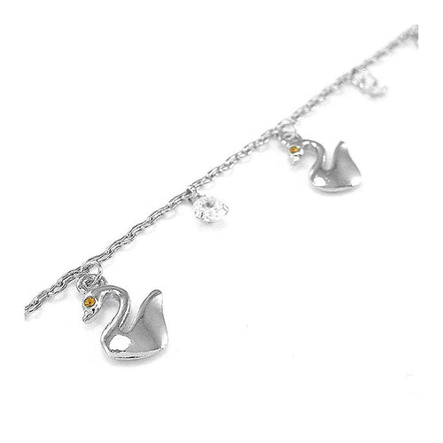 Elegant Swan Anklet with Silver and Orange Austrian Element Crystals