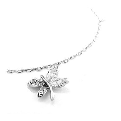 Elegant Dragonfly Anklet with Silver Austrian Element Crystals