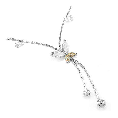 Elegant Butterfly Anklet with Silver and Orange Austrian Element Crystals