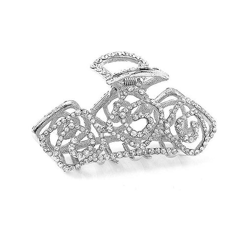Elegant Rose Hair Clamp with Silver Austrian Element Crystal