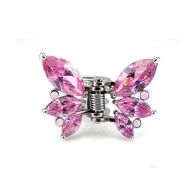 Charming Butterfly Clamp with Pink Austrian Element Crystal