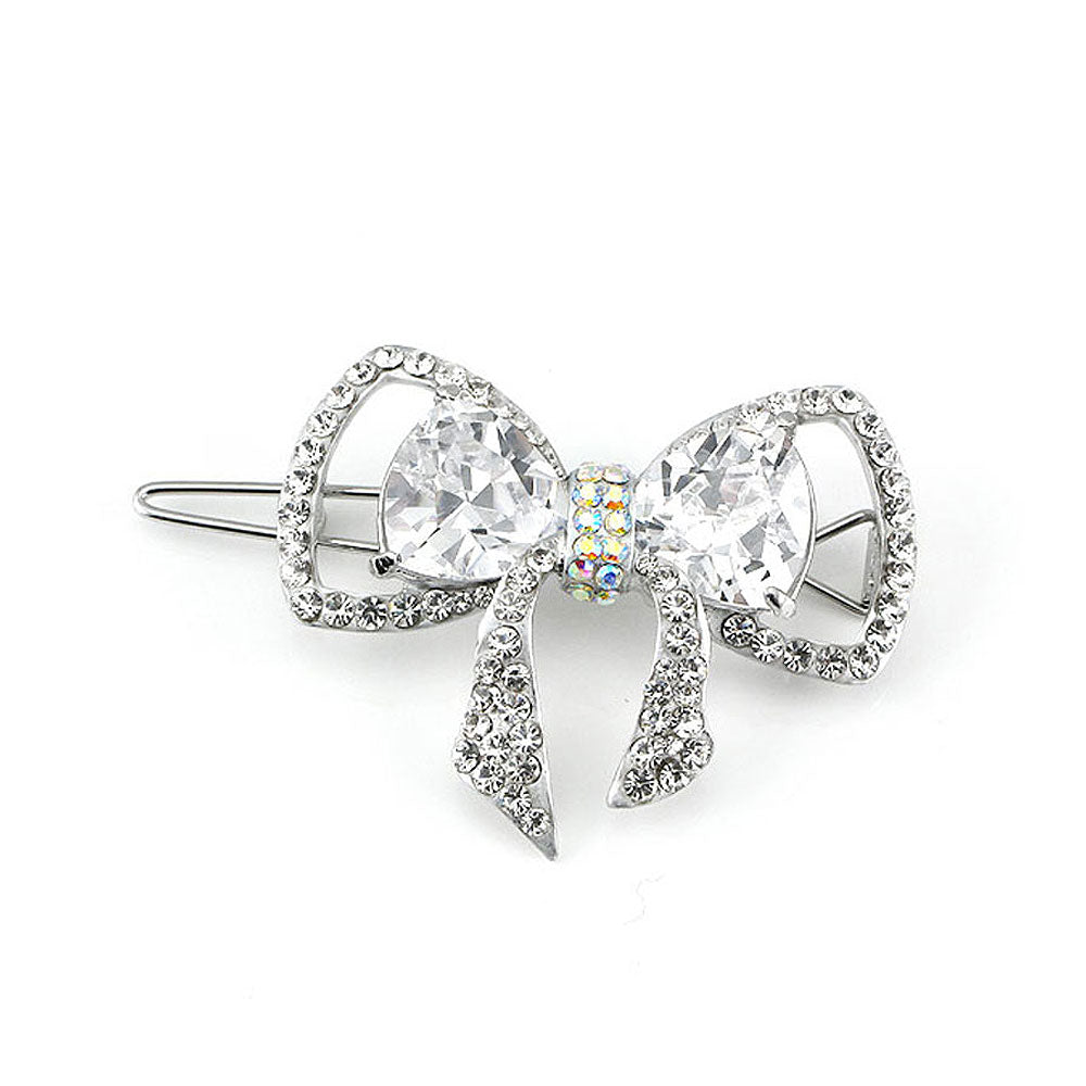 Charming Ribbon Barrette with Silver Austrian Element Crystal