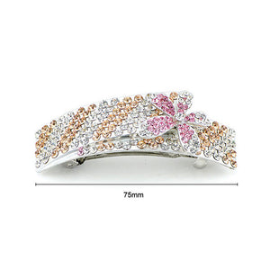Glistering Flower Barrette with Silver Pink and Orange Austrian Element Crystals