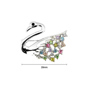 Elegant Swan Brooch with Multi-color Austrian Element Crystals