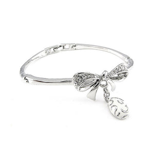 Fancy Ribbon Bangle with Silver Austrian Element Crystal