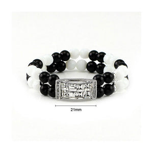 Fancy Bead Bracelet with Silver Austrian Element Crystals