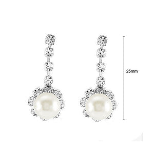 Glimmering Fashion Pearl Earrings with Silver Austrian Element Crystal