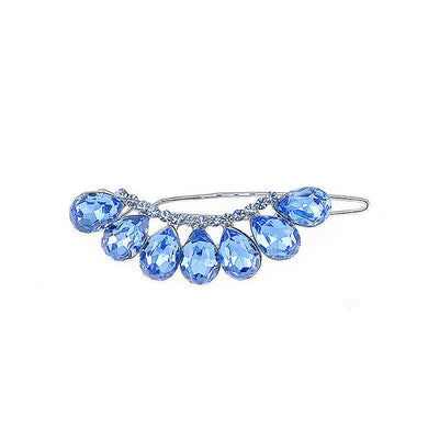 Glistering Barrette with Blue Austrian Element Crystal