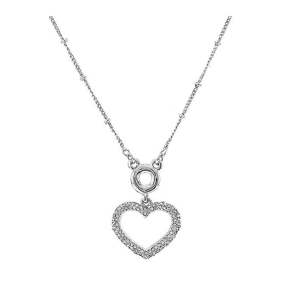 Glistering Heart Necklace with Sliver Austrian Element Crystal