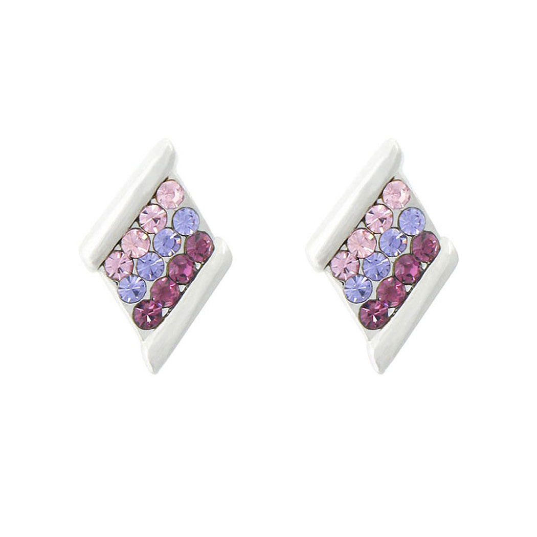 Lovely Rhombus Earrings with Multi-color Austrian Element Crystals