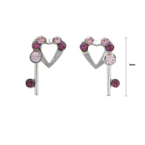 Lovely Heart Earrings with Purple and Pink Austrian Element Crystals
