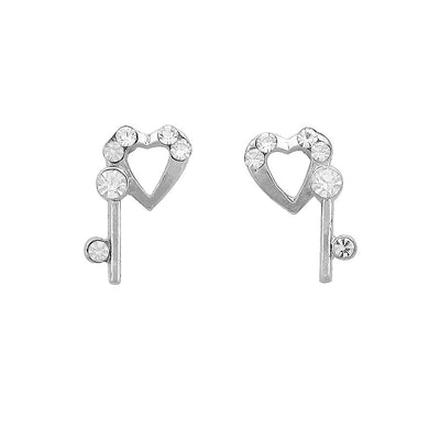 Lovely Heart Earrings with Silver Austrian Element Crystal