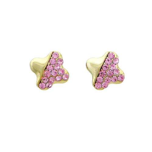 Lovely Star Earrings with Pink Austrian Element Crystal