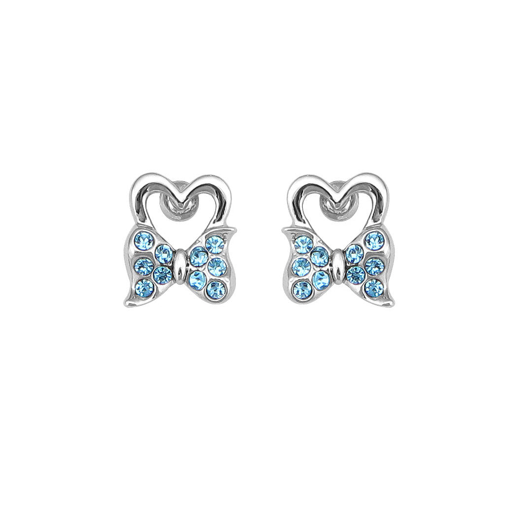 Lovely Ribbon Earrings with Blue Austrian Element Crystal