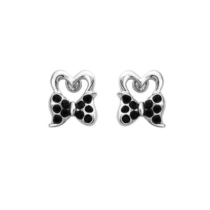 Lovely Ribbon Earrings with Black Austrian Element Crystal