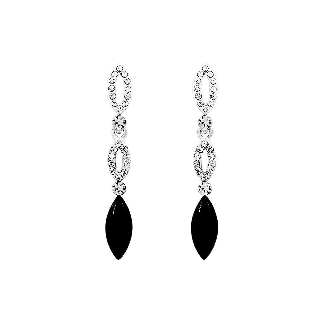 Elegant Marquise Earrings with Silver and Black Austrian Element Crystals