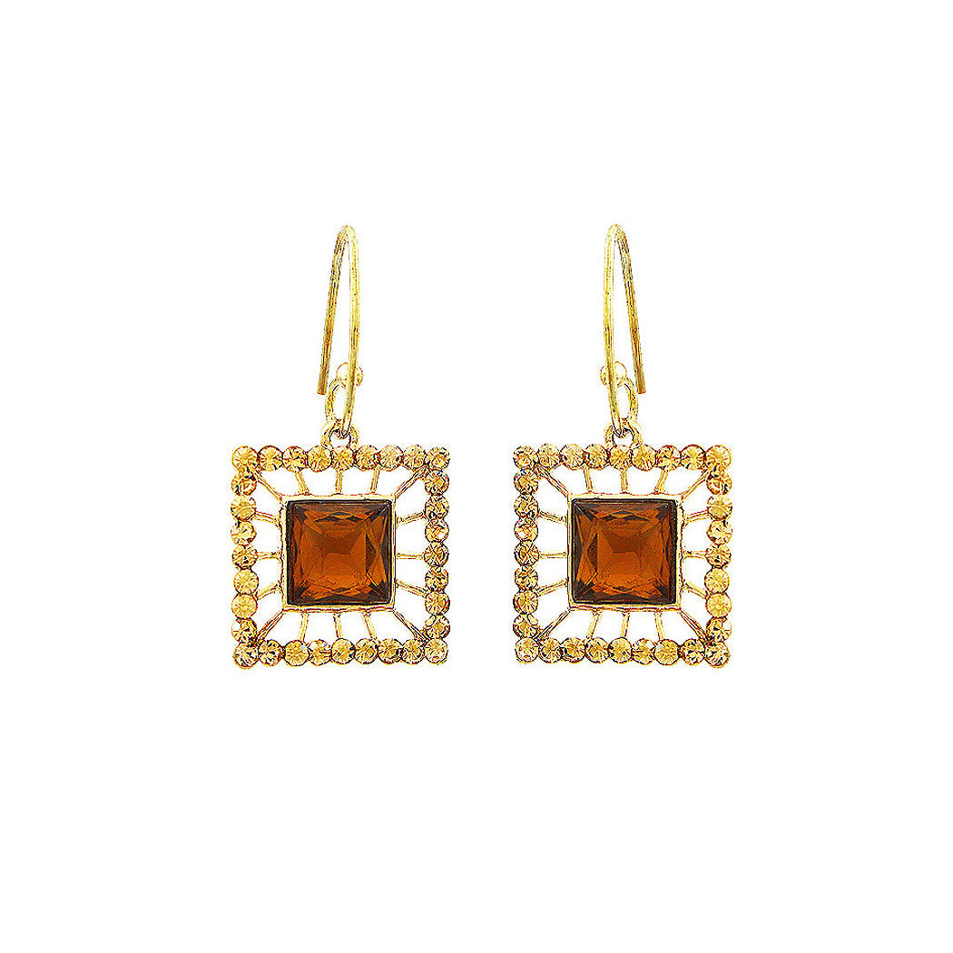 Elegant Square Earrings with Yellowish Copper and Silver Austrian Element Crystals