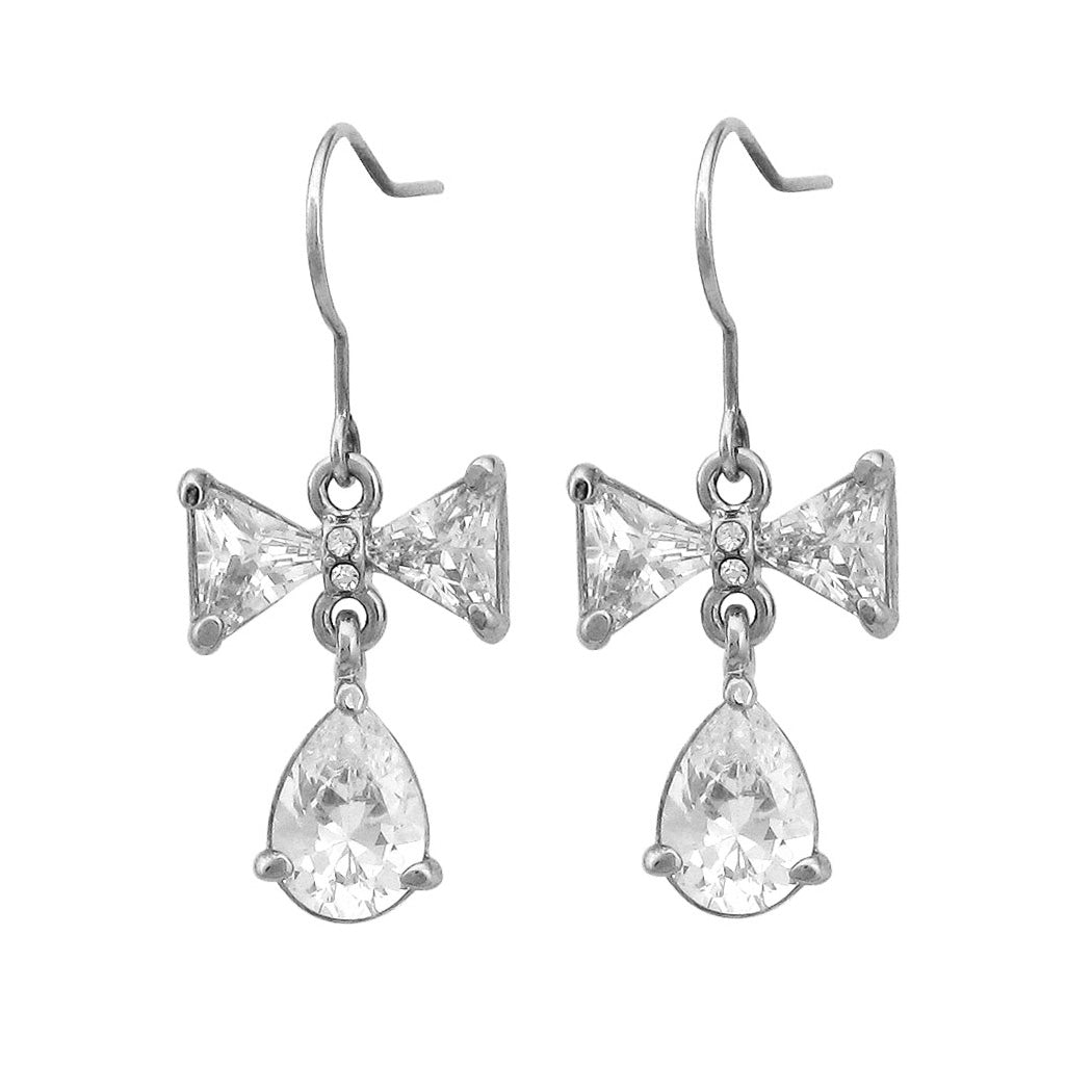 Elegant Ribbon Earrings with Silver Austrian Element Crystal