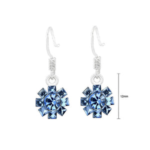 Exquisite Flower Earrings with Blue Austrian Element Crystal