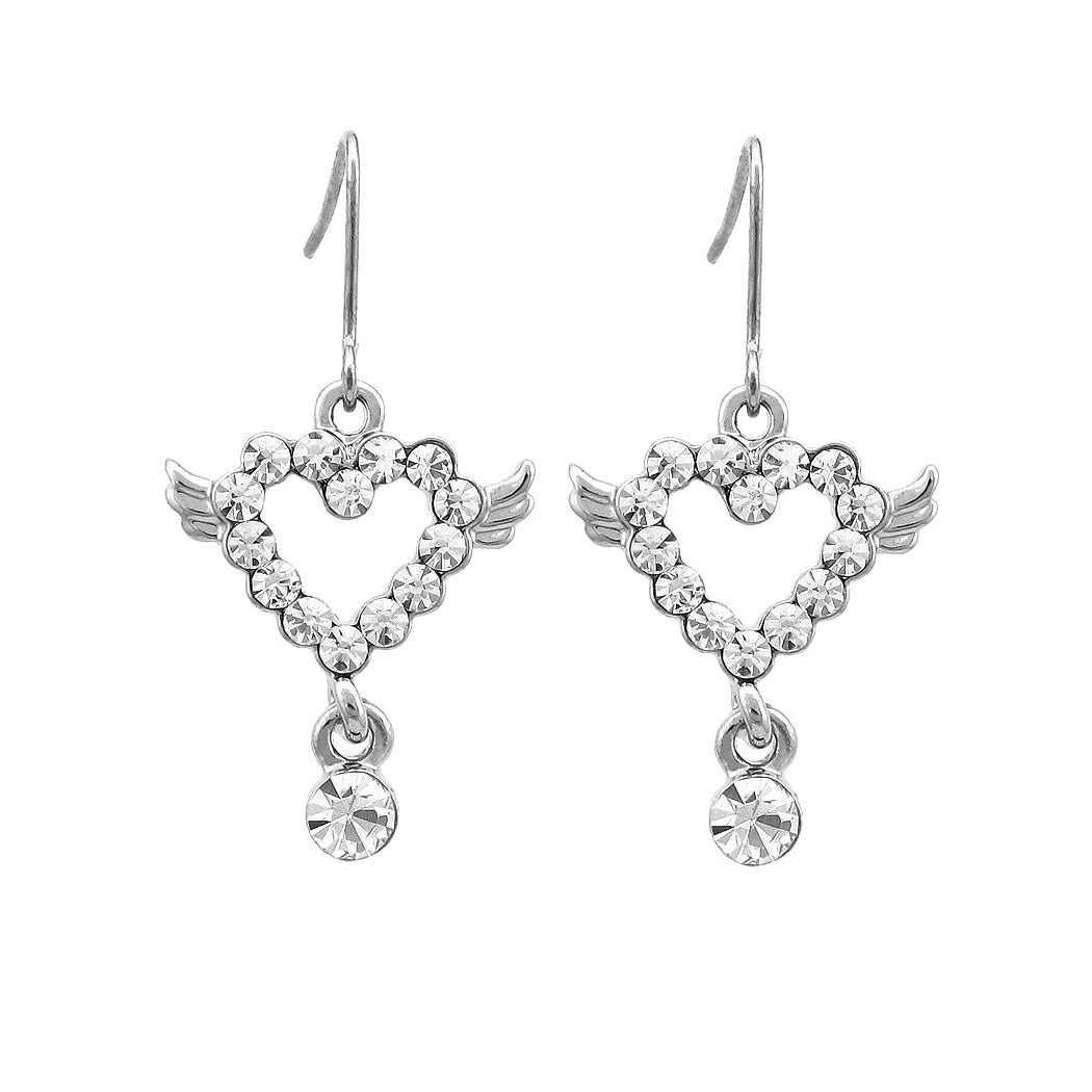 Simple Heart Earrings with Silver Austrian Element Crystal