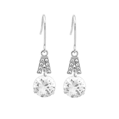 Elegant Round Earrings with Silver Austrian Element Crystal