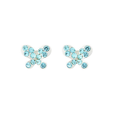 Mini-butterfly Earrings with Blue Austrian Element Crystal