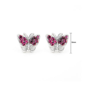 Mini-butterfly Earrings with Pink Austrian Element Crystal