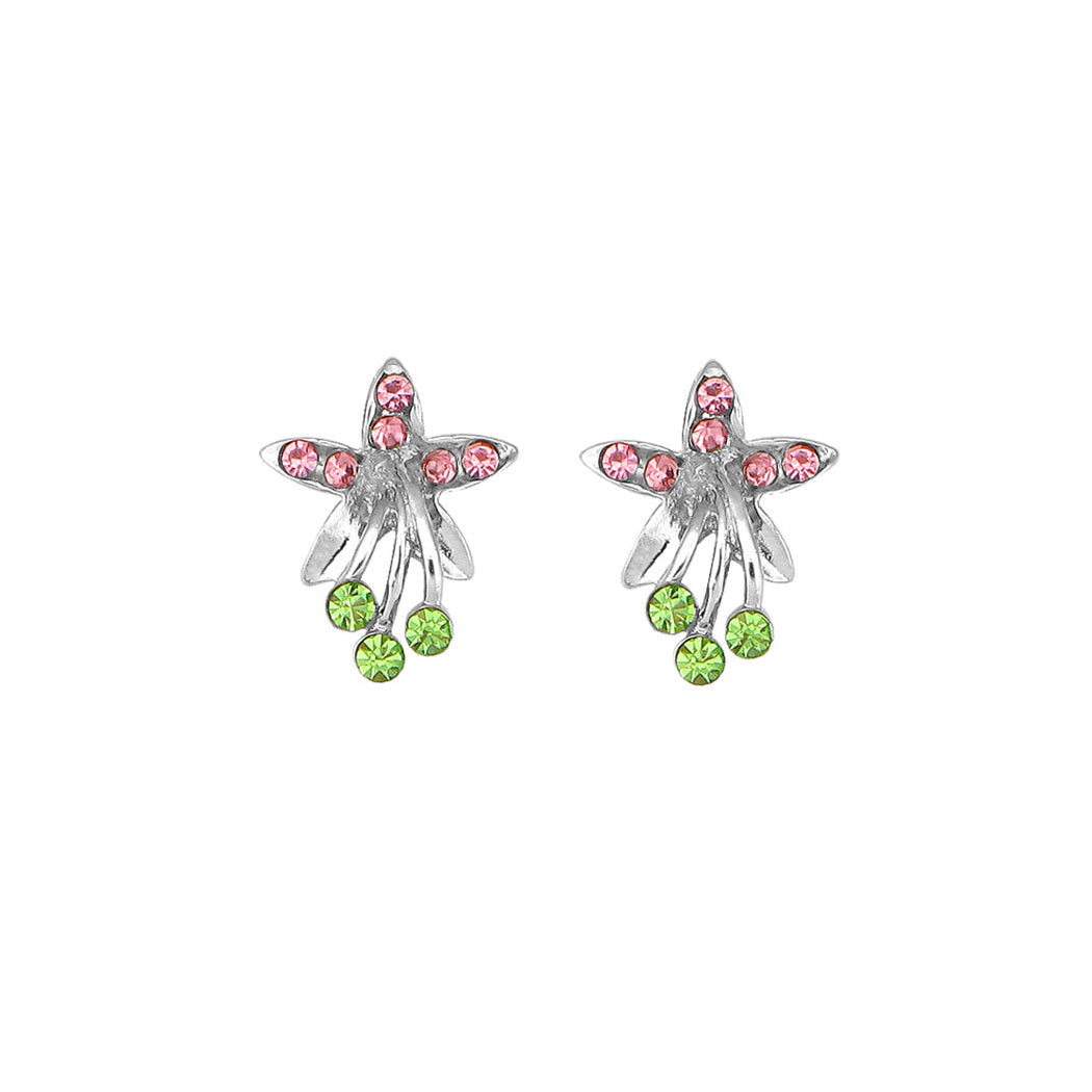 Lovely Flower Earrings with Pink and Green Austrian Element Crystals
