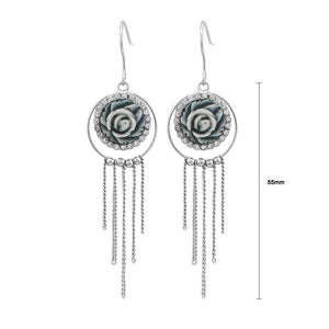 Elegant Rose Earrings with Silver Austrian Element Crystal