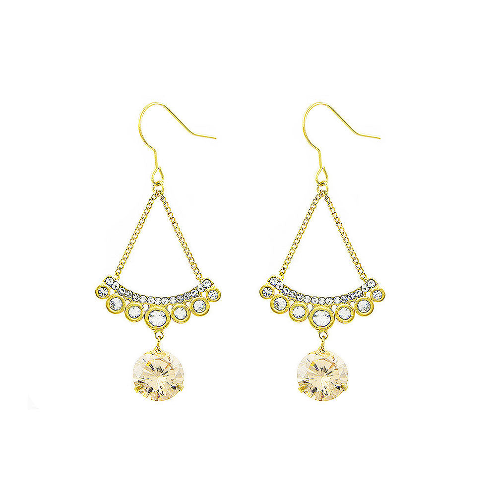Sparkling Earrings with Silver and Yellow Austrian Element Crystals