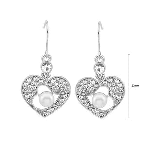 Glistening Earrings with Silver Austrian Element Crystal and White Fashion Pearl