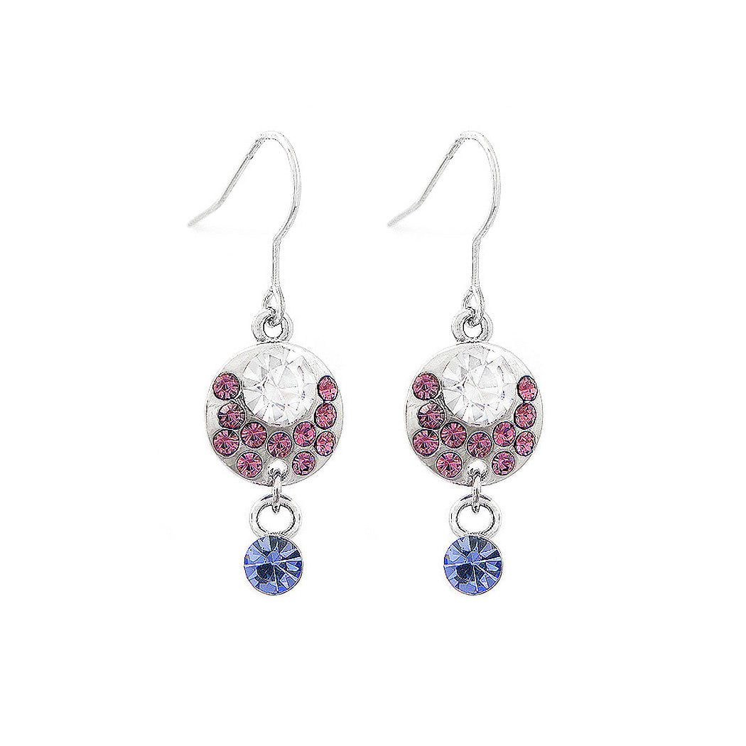 Elegant Earrings with Multi-color Austrian Element Crystals