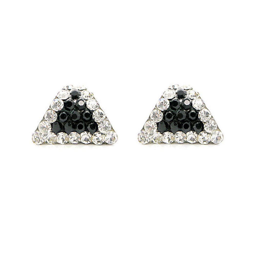 Simple Triangle Earrings with Silver and Black Austrian Element Crystals
