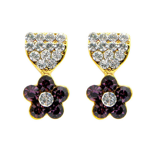 Lovely Flower Earrings with Silver and Purple Austrian Element Crystals