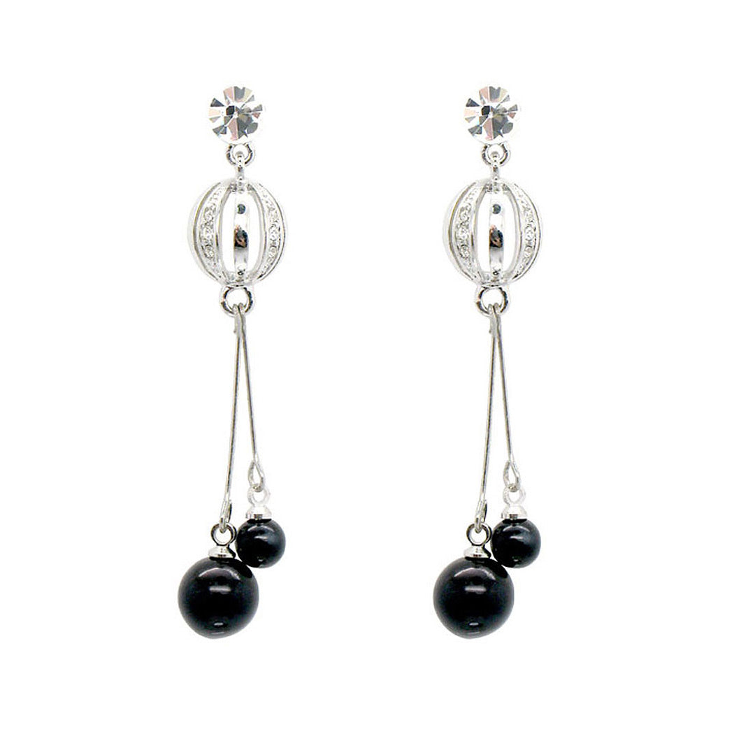 Simple Earrings with Silver Austrian Element Crystal and Black Plastic Beads