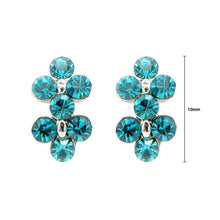Load image into Gallery viewer, Simple Flower Earrings with Dark Green Brown Austrian Element Crystal