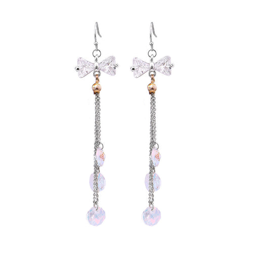 Lovely Ribbon Earrings with Silver Austrian Element Crystal