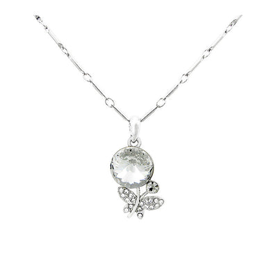 Chic Butterfly Necklace with Silver Austrian Element Crystal